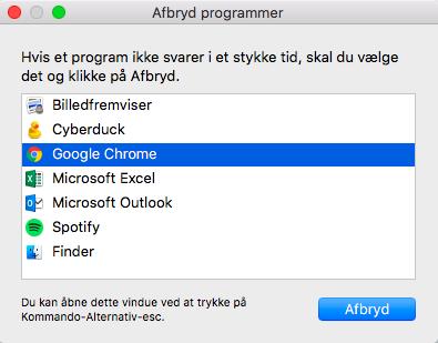 Ctrl + Alt + Delete på Mac